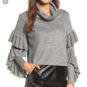 Leith Gray Ruffled-Sleeve Cowl Neck Sweater